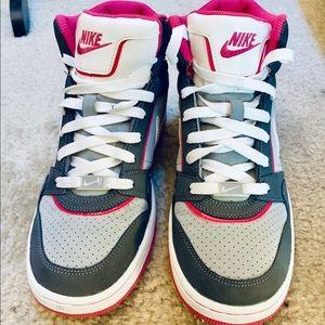 Nike high top pink and grey prestige running shoe